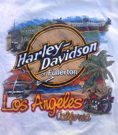1987 Vintage Harley Davidson Los Angeles Motorcycle T-shirt