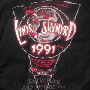 1991 Lynyrd Skynyrd Baton Rouge Vintage Concert Tour T-shirt