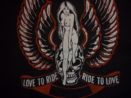 Vintage Harley Davidson Naked Woman On Skull t-shirt L soft