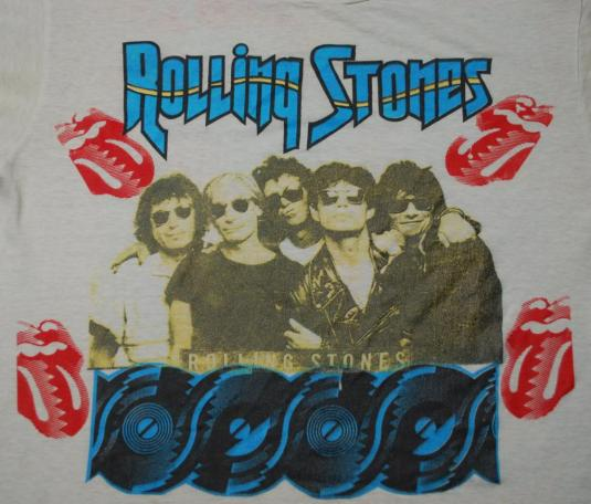VINTAGE THE ROLLING STONES & GUNS N ROSES '89 TOUR T-SHIRT *