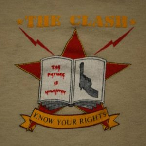 VINTAGE CLASH KNOW YOUR RIGHTS '82 AMERICAN TOUR T-SHIRT *