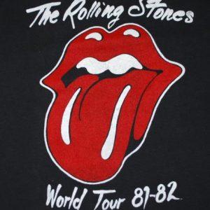 VINTAGE THE ROLLING STONES 1981-1982 WORLD TOUR T-SHIRT *