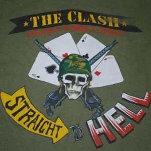 VINTAGE CLASH STRAIGHT TO HELL 1984 T-SHIRT*