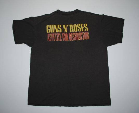 VINTAGE GUNS N ROSES 1988 APPETITE FOR DESTRUCTION T-SHIRT *