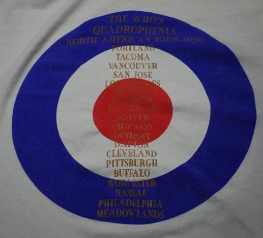 VINTAGE THE WHO QUADROPHENIA 1996 N. AMERICAN TOUR T-SHIRT *
