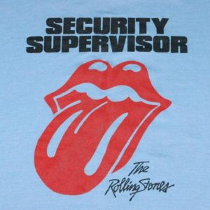 VINTAGE THE ROLLING STONES '81 SECURITY SUPERVISOR T-SHIRT *