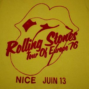 VINTAGE THE ROLLING STONES 1976 TOUR OF EUROPE T-SHIRT *