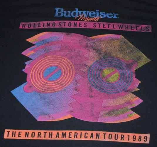 VINTAGE THE ROLLING STONES STEEL WHEELS TOUR OF 89 T-SHIRT *