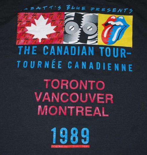 VINTAGE THE ROLLING STONES 1989 CANADIAN TOUR T-SHIRT *