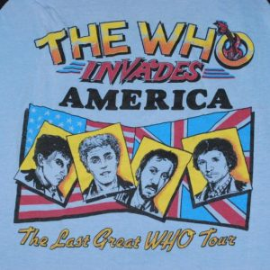 VINTAGE THE WHO INVADES AMERICA GREAT TOUR 1983 T-SHIRT *