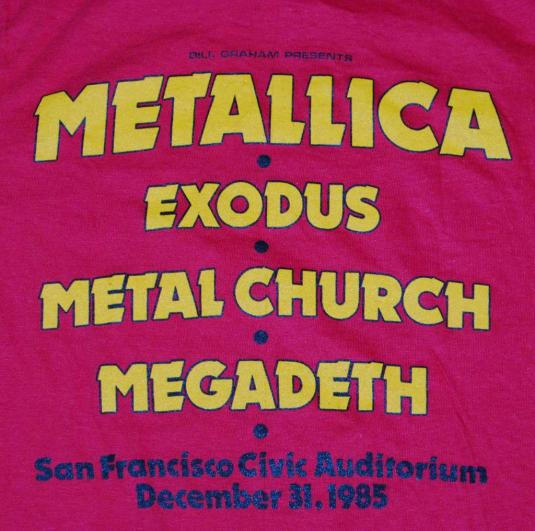 VINTAGE METALLICA 1985 EXODUS METAL CHURCH STAFF T-SHIRT *