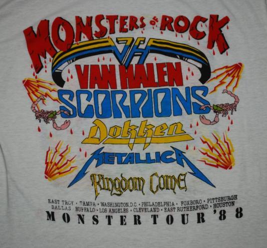 VINTAGE METALLICA MONSTERS OF ROCK 1988 TOUR T-SHIRT *