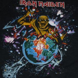 VINTAGE IRON MAIDEN 1983 WORLD PIECE TOUR SWEATER T-SHIRT *