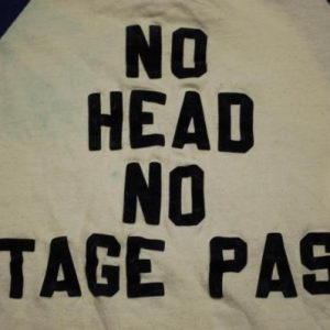 VINTAGE THE WHO 1970'S NO HEAD NO STAGE PASS T-SHIRT *