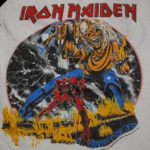 VINTAGE IRON MAIDEN # OF THE BEAST 1982 WORLD TOUR T-SHIRT *