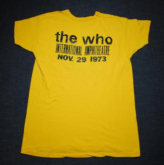 VINTAGE THE WHO 1973 CHICAGO INT. AMPHITHEATRE T-SHIRT *