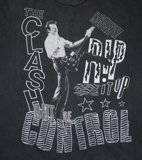 VINTAGE THE CLASH 1984 RIP IT UP OUT OF CONTROL T-SHIRT *