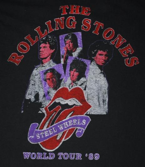 VINTAGE THE ROLLING STONES STEEL WHEELS 1989 TOUR T-SHIRT *