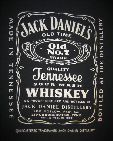 Jack Daniels Tennessee Whiskey T-shirt vintage 80s XL
