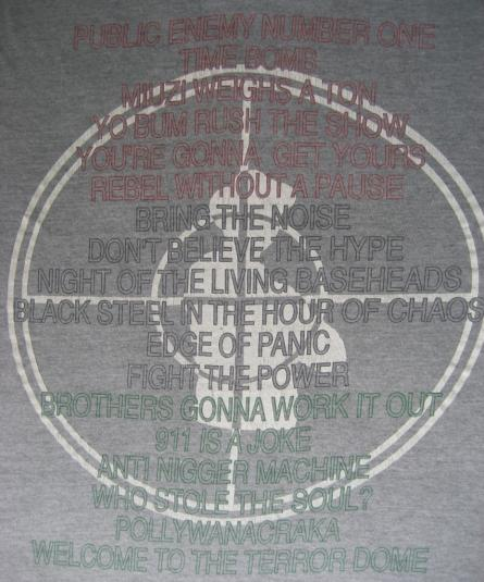 PUBLIC ENEMY Welcome to the TERRORDOME vintage t-shirt