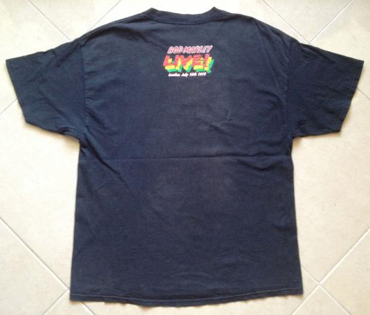 Vintage Bob Marley Live London 1975 t-shirt ZION Black XL
