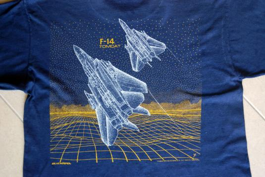 F-14 Tomcat Fighter Jet 1988 Blue ONEITA Made in USA XL
