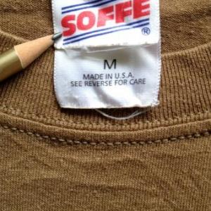 "Vintage plain blank brown 80s t-shirt SOFFE USA 50/50 20"" M"