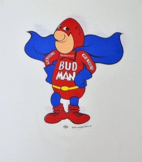 Vintage 80s Bud Man Anheuser-Busch Budweiser 2-Sided T Shirt