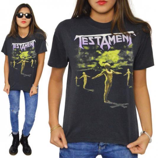 Vintage 80s Testament Practice What You Preach T Shirt Sz M