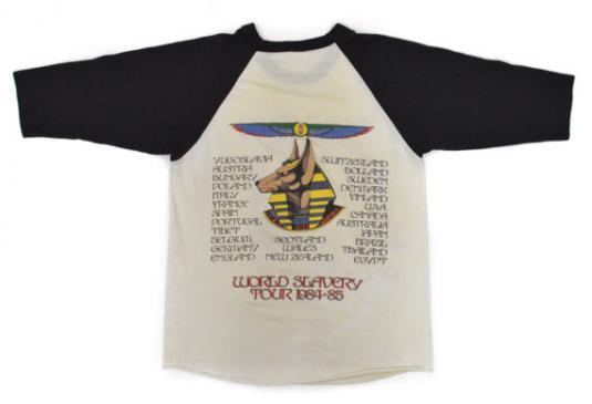 Vintage 80s Iron Maiden Powerslave World Slavery T Shirt