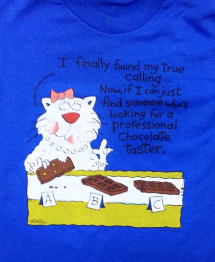 Vintage 90s Cat Chocolate Lover Funny T Shirt 50/50 Sz S