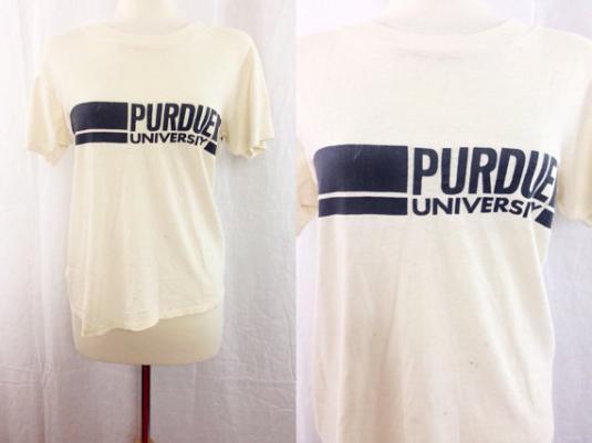 Vintage 80s Purdue University Distressed Indie Rock T Shirt