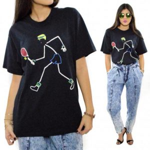 Vintage 90s Stick Figure Tennis Screen Stars Best T Shirt