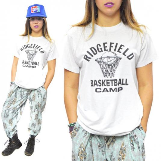 Vintage 80s Ridgefield Basketball Camp T Shirt Sz M