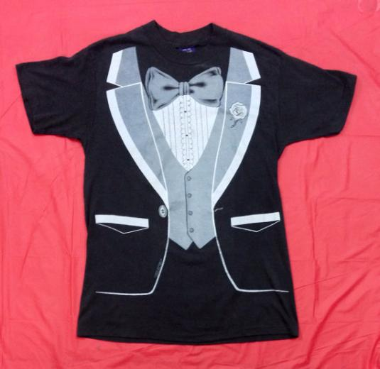 Vintage 80s Tuxedo Funny 50/50 T Shirt Sz L