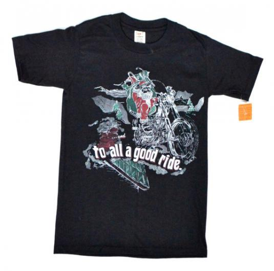 Vintage 80s Biker Santa …And to All a Good Ride T Shirt