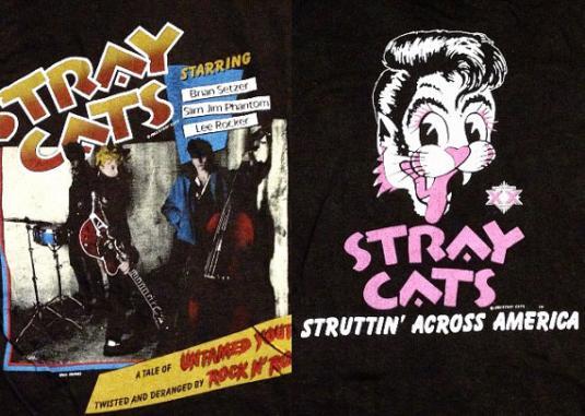 Vintage 80s STRAY CATS Struttin' Across America T Shirt