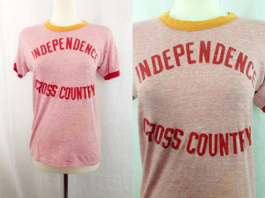 VTG 80s Independence Cross Country Russel Ringer T Shirt