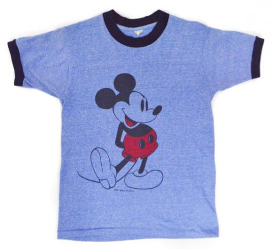 Vintage 80s Mickey Mouse Disney Heather Blue Ringer T Shirt
