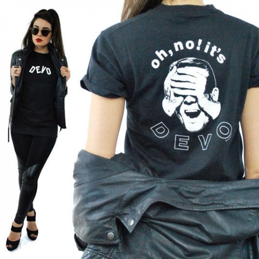 Vintage 80s DEVO Oh No It's Devo New Wave Black T Shirt Sz M
