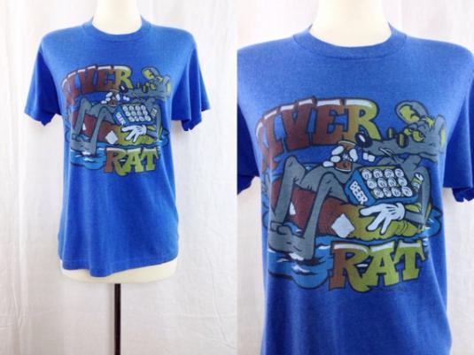 Vintage 80s River Rat Funny Beer Blue T Shirt Sz L