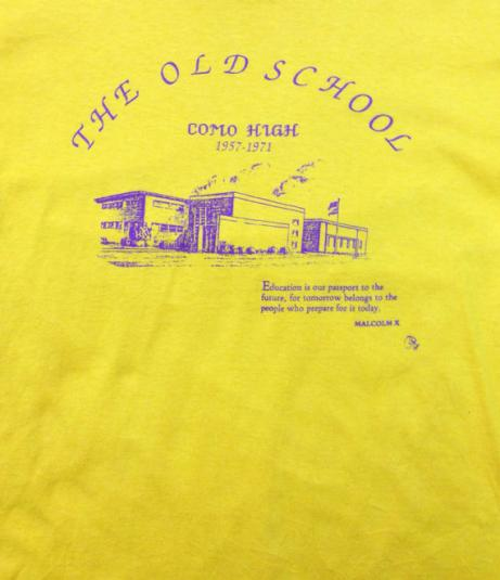 Vintage 90s The Old School Como High 1957-1971 Malcolm X Yel