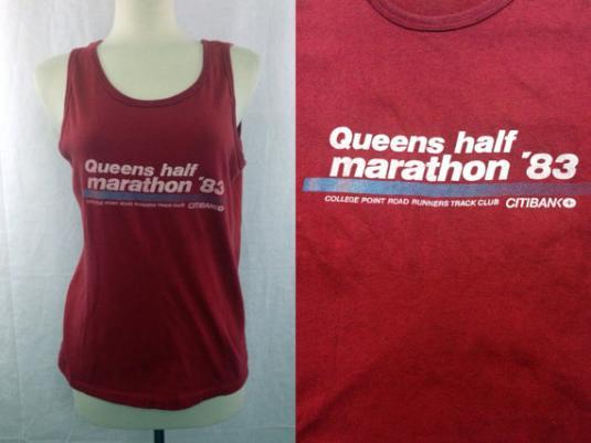 Vintage 80s Queens Half Marathon '83 Indie Tank Top 50/50 T