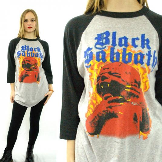 Vintage 80s BLACK SABBATH Born Again Tour 1983 Raglan 3/4 Sl