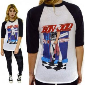 Vintage 80s Bon Jovi Runaway Tour Raglan Jersey Sz M