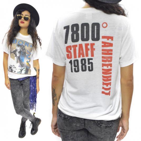 Vintage 80s Bon Jovi 7800 Fahrenheit Staff T Shirt Sz L
