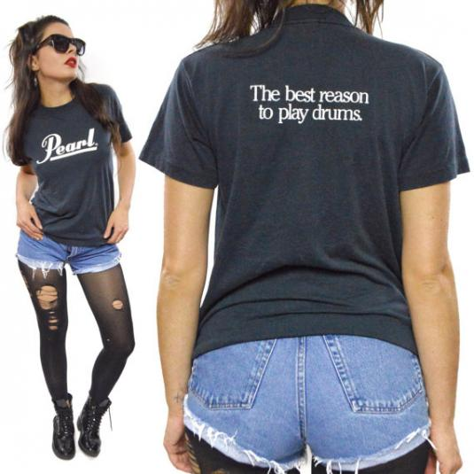 Vintage 80s Pearl Drums Black T Shirt Sz M