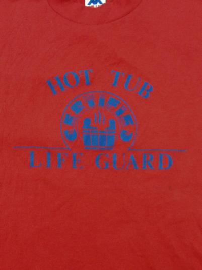 Vintage 80s Hot Tub Life Guard Funny Indie 50/50 T Shirt Sz