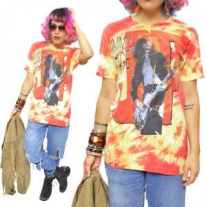 Vintage 80s Jimmy Page Tie Dye Rock T Shirt Sz L