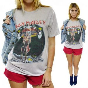 Vintage 80s Iron Maiden Somewhere On Tour T Shirt Sz L